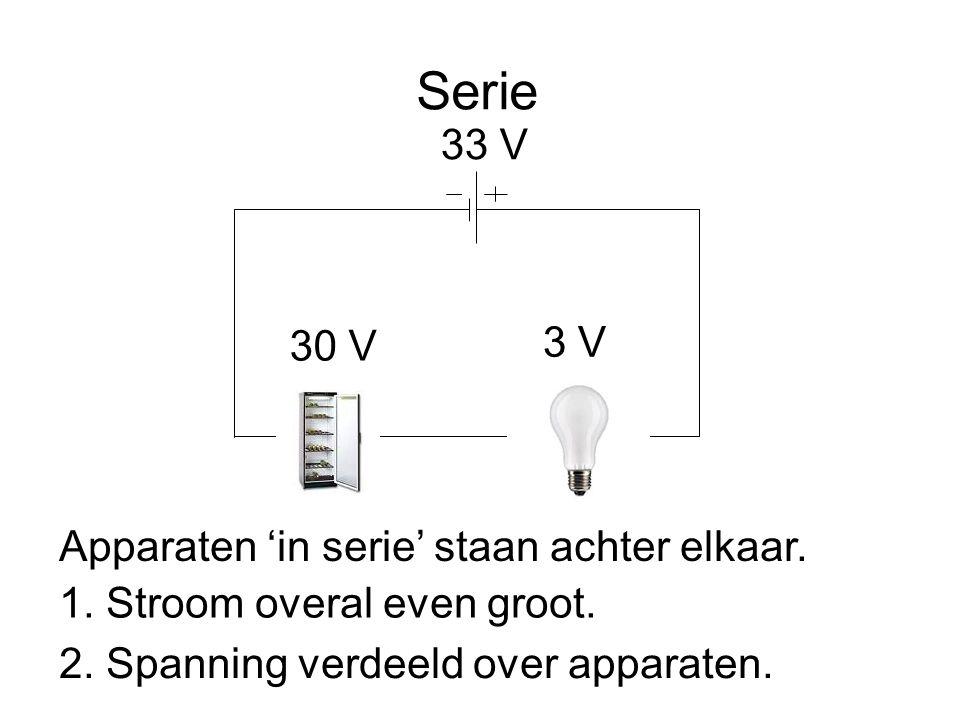 Serie Apparaten 'in serie' staan achter elkaar. 33 V 3 V 30 V 1. Stroom overal even groot. 2. Spanning verdeeld over apparaten.
