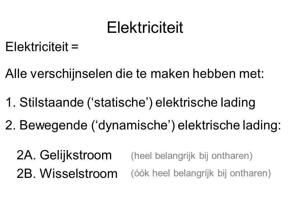 Elektriciteit Elektriciteit = Alle verschijnselen die te maken hebben met: 1. Stilstaande ('statische') elektrische lading 2. Bewegende ('dynamische')