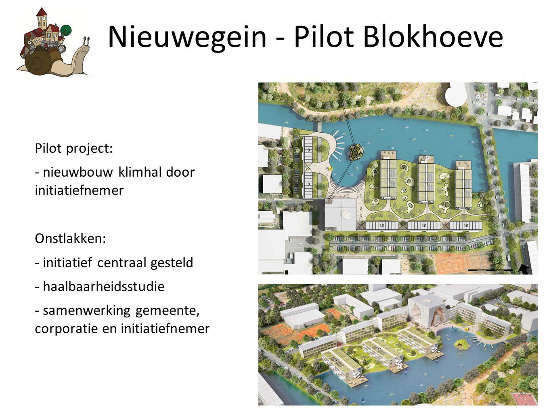 20 Pilot project: - nieuwbouw klimhal door initiatiefnemer Onstlakken: - initiatief centraal gesteld - haalbaarheidsstudie - samenwerking gemeente, corporatie en initiatiefnemer Nieuwegein - Pilot Blokhoeve 20