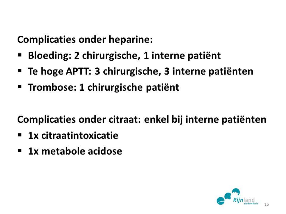 Complicaties onder heparine:  Bloeding: 2 chirurgische, 1 interne patiënt  Te hoge APTT: 3 chirurgische, 3 interne patiënten  Trombose: 1 chirurgis