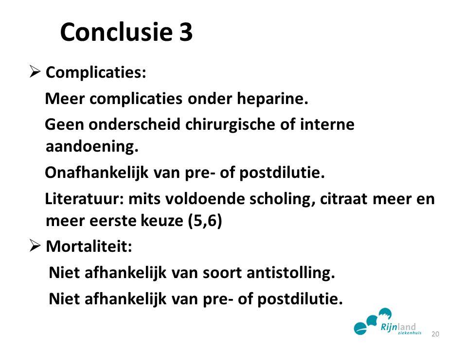 Conclusie 3  Complicaties: Meer complicaties onder heparine. Geen onderscheid chirurgische of interne aandoening. Onafhankelijk van pre- of postdilut