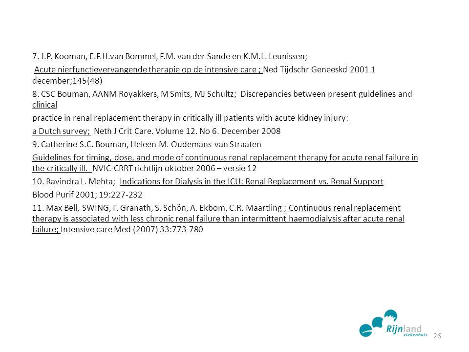 7. J.P. Kooman, E.F.H.van Bommel, F.M. van der Sande en K.M.L. Leunissen; Acute nierfunctievervangende therapie op de intensive care ; Ned Tijdschr Ge