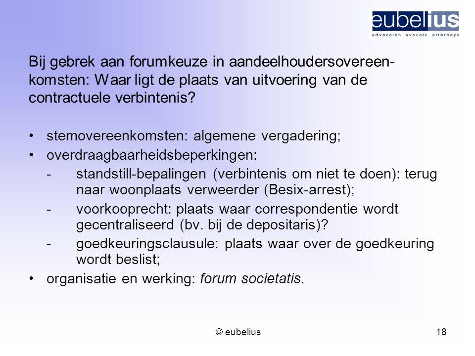 © eubelius 18 Bij gebrek aan forumkeuze in aandeelhoudersovereen- komsten: Waar ligt de plaats van uitvoering van de contractuele verbintenis? stemove
