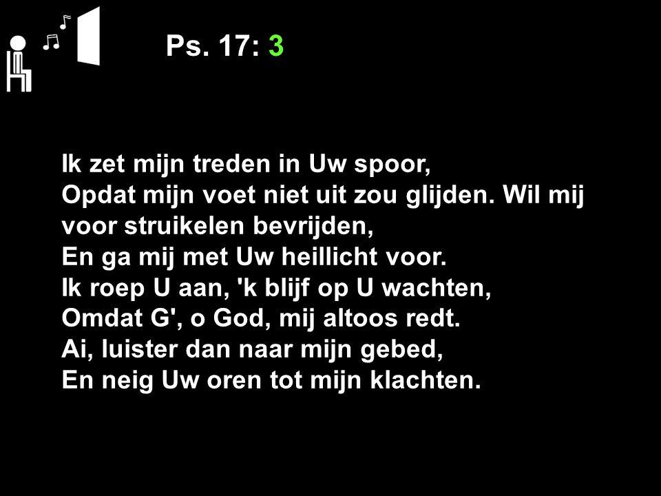 Ps. 17: 3 Ik zet mijn treden in Uw spoor, Opdat mijn voet niet uit zou glijden. Wil mij voor struikelen bevrijden, En ga mij met Uw heillicht voor. Ik