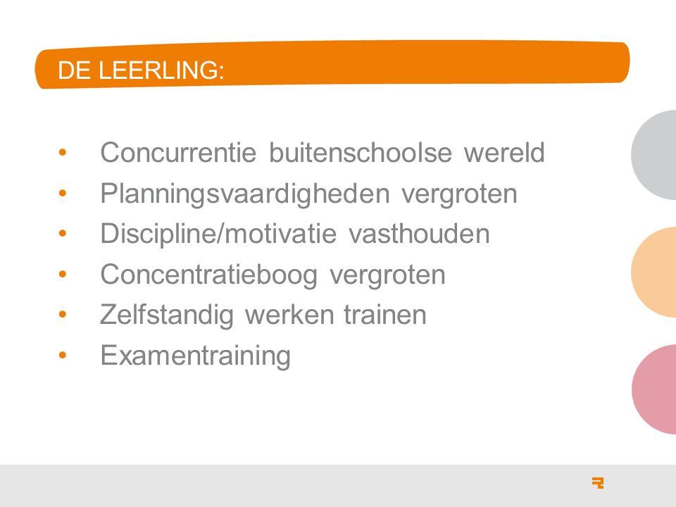 Concurrentie buitenschoolse wereld Planningsvaardigheden vergroten Discipline/motivatie vasthouden Concentratieboog vergroten Zelfstandig werken train