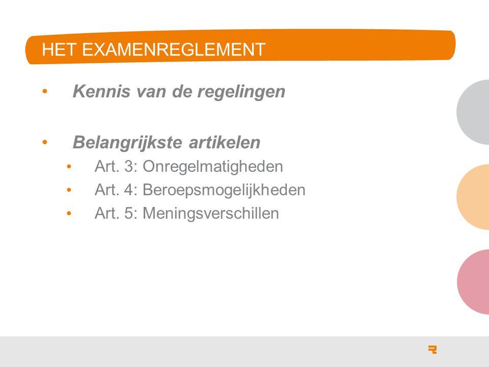 Kennis van de regelingen Belangrijkste artikelen Art. 3: Onregelmatigheden Art. 4: Beroepsmogelijkheden Art. 5: Meningsverschillen HET EXAMENREGLEMENT