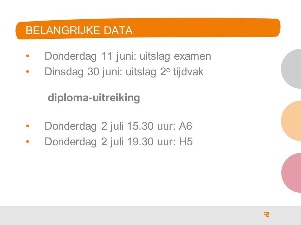 Donderdag 11 juni: uitslag examen Dinsdag 30 juni: uitslag 2 e tijdvak diploma-uitreiking Donderdag 2 juli 15.30 uur: A6 Donderdag 2 juli 19.30 uur: H