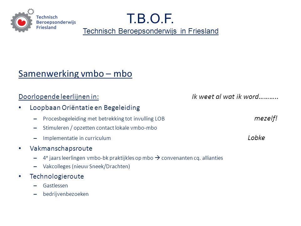 T.B.O.F. Technisch Beroepsonderwijs in Friesland Samenwerking vmbo – mbo Doorlopende leerlijnen in: Ik weet al wat ik word……….. Loopbaan Oriëntatie en
