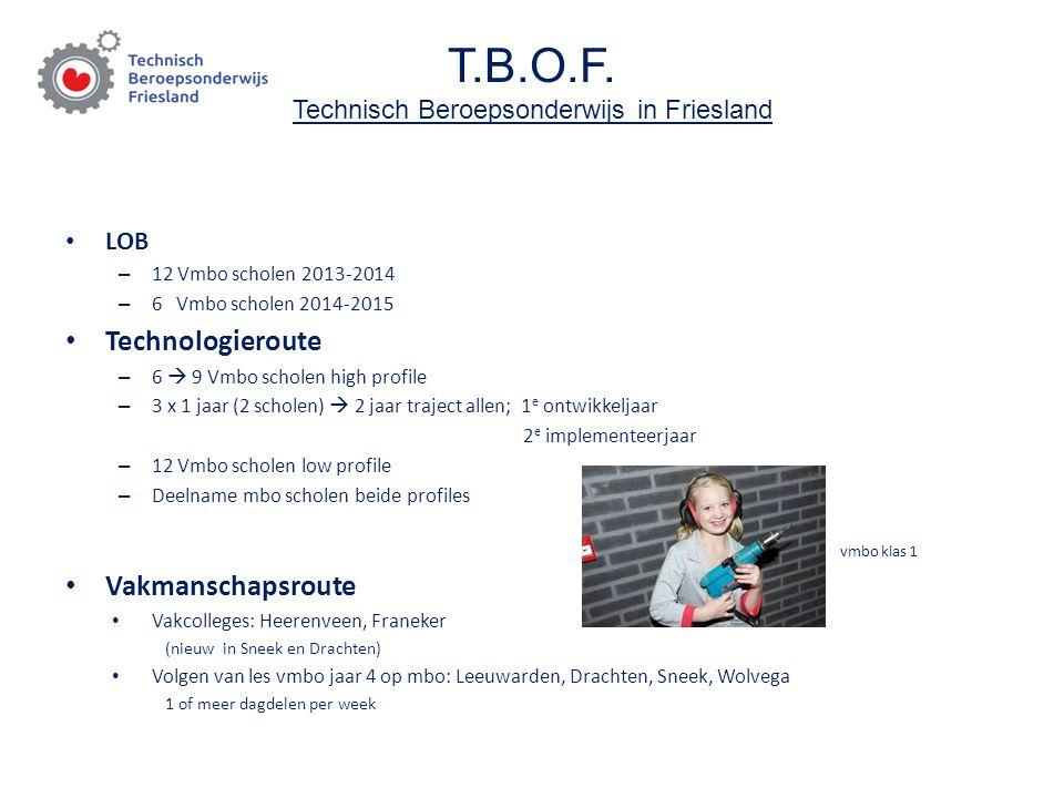 T.B.O.F. Technisch Beroepsonderwijs in Friesland LOB – 12 Vmbo scholen 2013-2014 – 6 Vmbo scholen 2014-2015 Technologieroute – 6  9 Vmbo scholen high