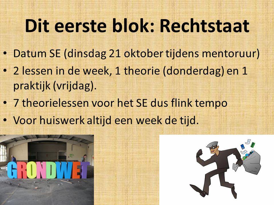 Dit eerste blok: Rechtstaat Datum SE (dinsdag 21 oktober tijdens mentoruur) 2 lessen in de week, 1 theorie (donderdag) en 1 praktijk (vrijdag).