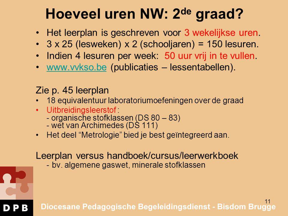 11 Hoeveel uren NW: 2 de graad? Het leerplan is geschreven voor 3 wekelijkse uren. 3 x 25 (lesweken) x 2 (schooljaren) = 150 lesuren. Indien 4 lesuren