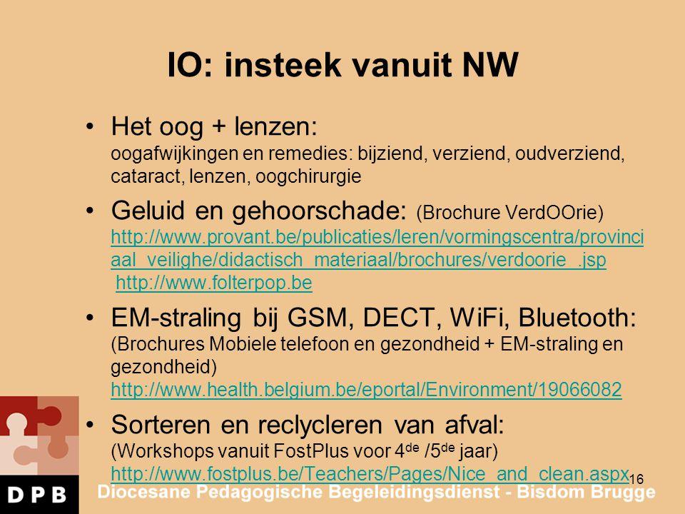 IO: insteek vanuit NW Het oog + lenzen: oogafwijkingen en remedies: bijziend, verziend, oudverziend, cataract, lenzen, oogchirurgie Geluid en gehoorsc