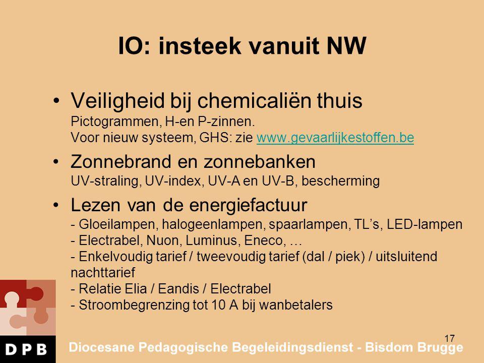 IO: insteek vanuit NW Veiligheid bij chemicaliën thuis Pictogrammen, H-en P-zinnen. Voor nieuw systeem, GHS: zie www.gevaarlijkestoffen.bewww.gevaarli