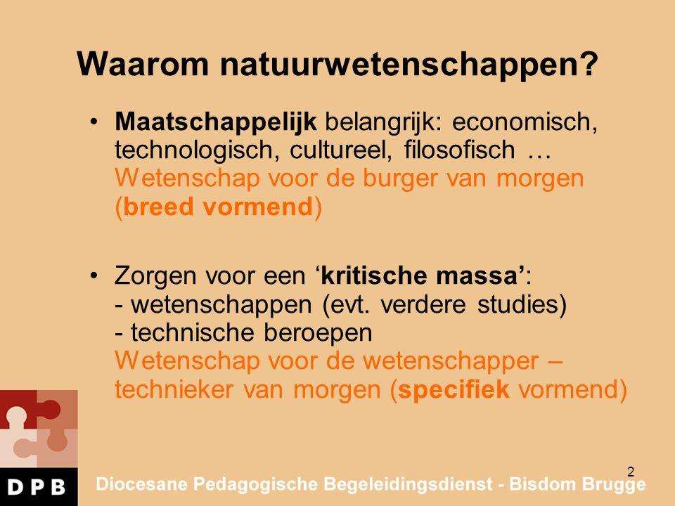 2 Waarom natuurwetenschappen? Maatschappelijk belangrijk: economisch, technologisch, cultureel, filosofisch … Wetenschap voor de burger van morgen (br