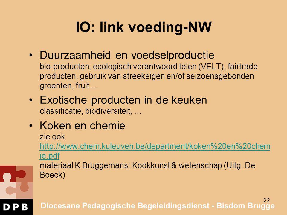 IO: link voeding-NW Duurzaamheid en voedselproductie bio-producten, ecologisch verantwoord telen (VELT), fairtrade producten, gebruik van streekeigen
