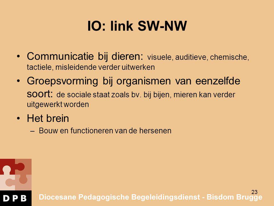 IO: link SW-NW Communicatie bij dieren: visuele, auditieve, chemische, tactiele, misleidende verder uitwerken Groepsvorming bij organismen van eenzelf
