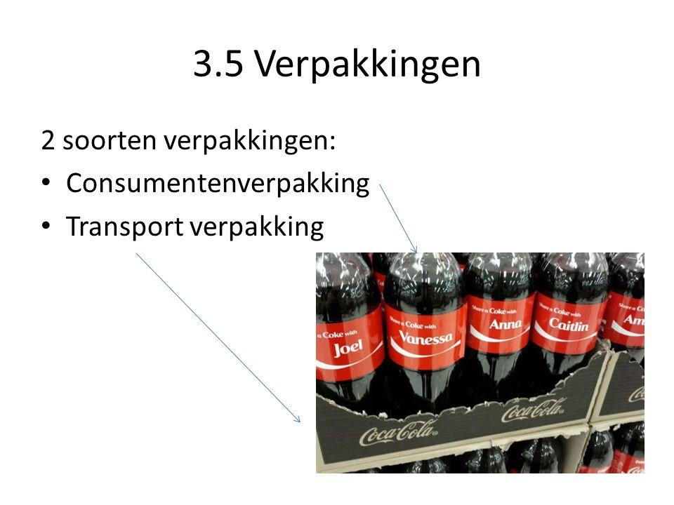 3.5 Verpakkingen 2 soorten verpakkingen: Consumentenverpakking Transport verpakking
