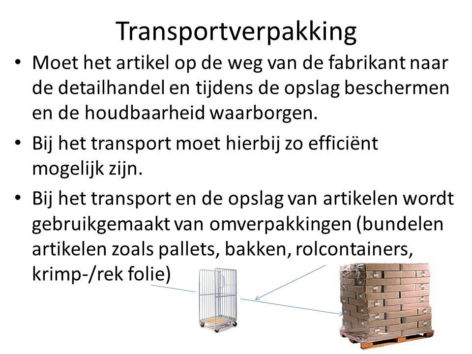 Transportverpakking Moet het artikel op de weg van de fabrikant naar de detailhandel en tijdens de opslag beschermen en de houdbaarheid waarborgen. Bi