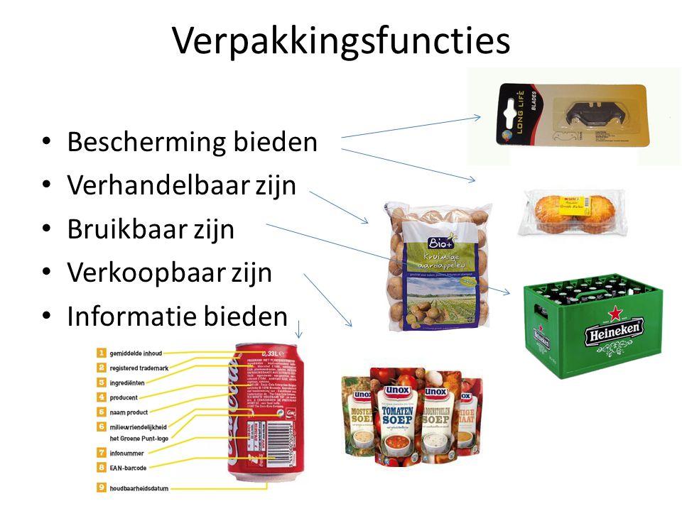 Bescherming (van product of gebruiker, tegen diefstal) Verhandelbaar (makkelijk te vervoeren, goed kunnen stapelen, ophangen of presenteren) Bruikbaar (gemakkelijk in gebruik bijv.