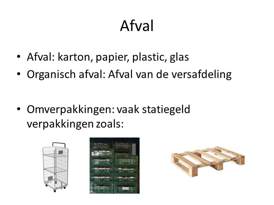 Afval Afval: karton, papier, plastic, glas Organisch afval: Afval van de versafdeling Omverpakkingen: vaak statiegeld verpakkingen zoals: