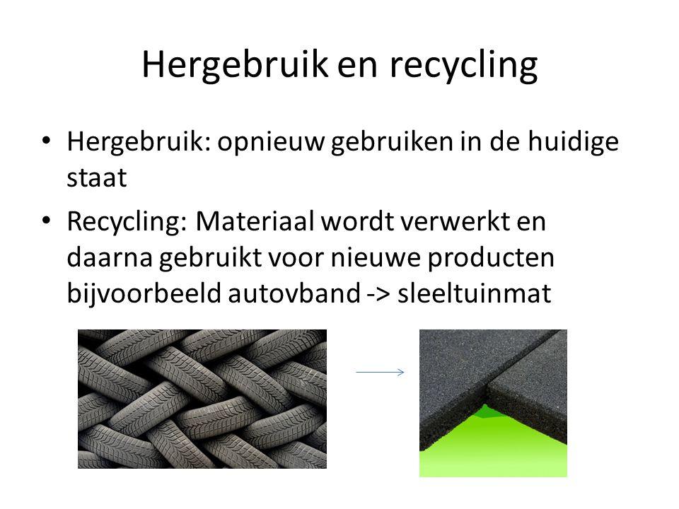 Hergebruik en recycling Hergebruik: opnieuw gebruiken in de huidige staat Recycling: Materiaal wordt verwerkt en daarna gebruikt voor nieuwe producten