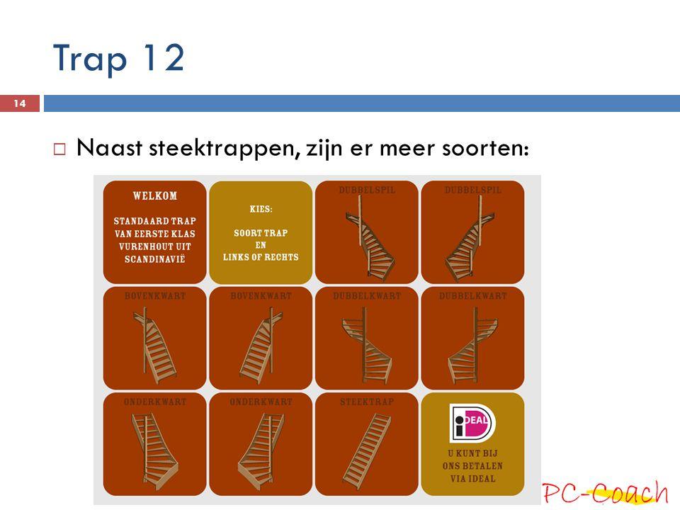 Trap 12  Naast steektrappen, zijn er meer soorten: 14