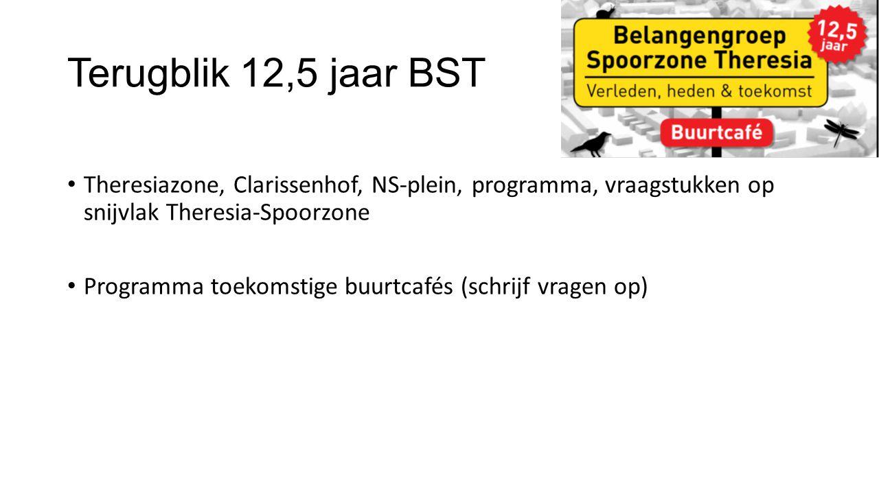 Terugblik 12,5 jaar BST Theresiazone, Clarissenhof, NS-plein, programma, vraagstukken op snijvlak Theresia-Spoorzone Programma toekomstige buurtcafés (schrijf vragen op)
