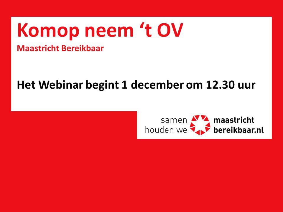 Resultaat Webinar MB 1 december 2014 –Door 48 deelnemers zijn dagelijks gemiddeld 22 spitritten gemeden –Dat is 55% van hun normale spitsritten –Veel deelnemers zijn van plan om een e-bike of trajectkaart aan te schaffen –Maastricht Bereikbaar is onder de aandacht gebracht bij werkgevers in de Beatrixhaven –De naamsbekendheid van station Noord is toegenomen 12
