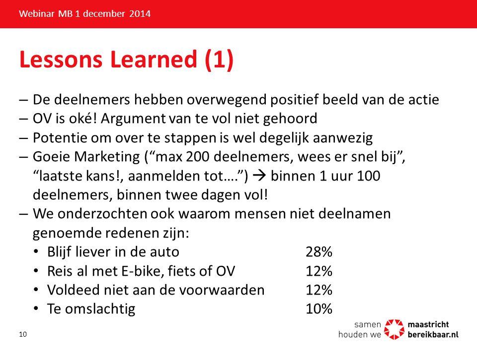 Lessons Learned (1) –De deelnemers hebben overwegend positief beeld van de actie –OV is oké! Argument van te vol niet gehoord –Potentie om over te sta