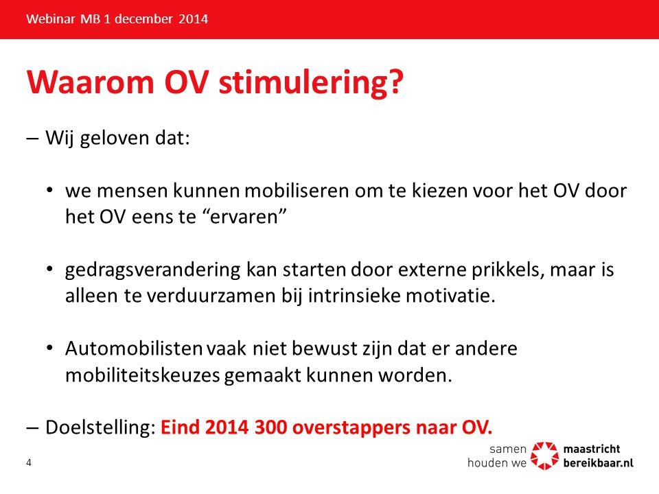 Toepassing en onderzoeken Webinar MB 1 december 2014 Komop neem 't OV: –April mei : test n.a.v.