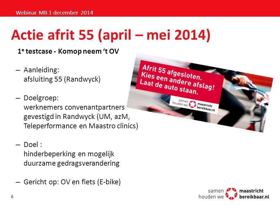 Actie afrit 55 (april – mei 2014) 1 e testcase - Komop neem 't OV –Aanleiding: afsluiting 55 (Randwyck) –Doelgroep: werknemers convenantpartners geves