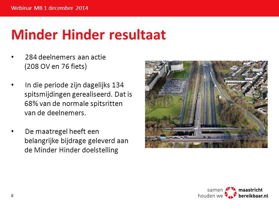 Minder Hinder resultaat Webinar MB 1 december 2014 284 deelnemers aan actie (208 OV en 76 fiets) In die periode zijn dagelijks 134 spitsmijdingen gere