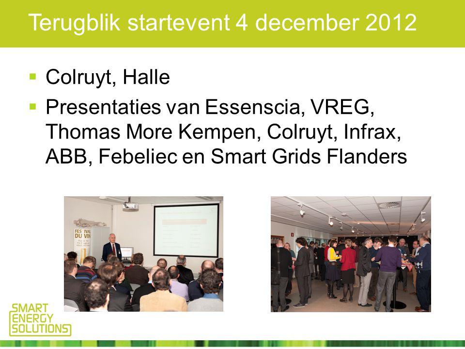 Terugblik startevent 4 december 2012  Colruyt, Halle  Presentaties van Essenscia, VREG, Thomas More Kempen, Colruyt, Infrax, ABB, Febeliec en Smart Grids Flanders