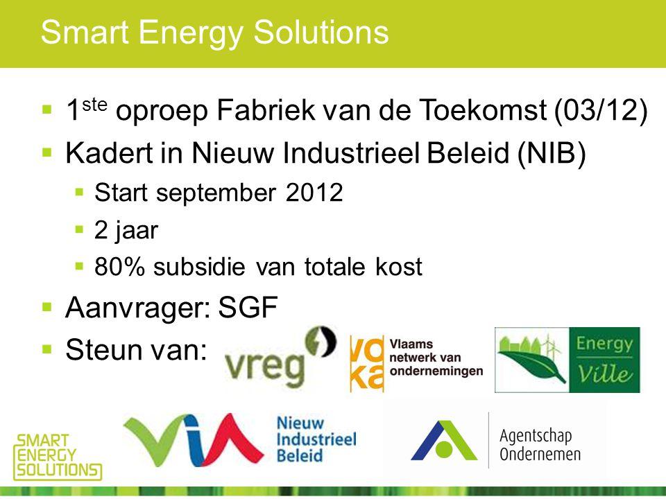Smart Energy Solutions  1 ste oproep Fabriek van de Toekomst (03/12)  Kadert in Nieuw Industrieel Beleid (NIB)  Start september 2012  2 jaar  80% subsidie van totale kost  Aanvrager: SGF  Steun van:
