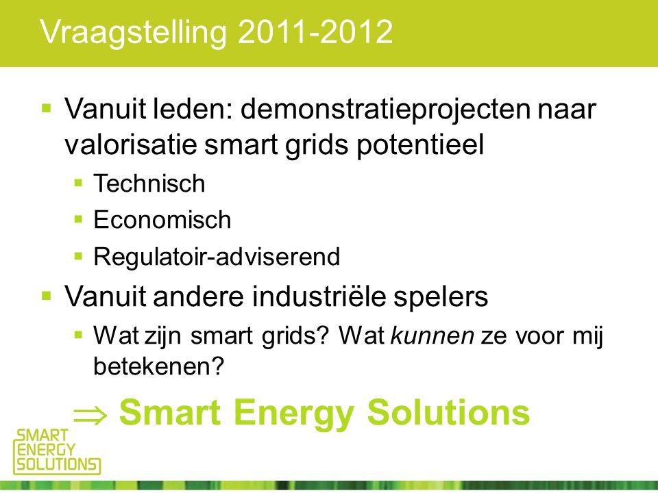 Vraagstelling 2011-2012  Vanuit leden: demonstratieprojecten naar valorisatie smart grids potentieel  Technisch  Economisch  Regulatoir-adviserend  Vanuit andere industriële spelers  Wat zijn smart grids.