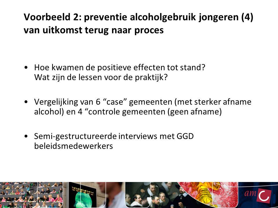 Voorbeeld 2: preventie alcoholgebruik jongeren (4) van uitkomst terug naar proces Hoe kwamen de positieve effecten tot stand.