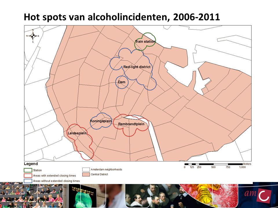 Hot spots van alcoholincidenten, 2006-2011