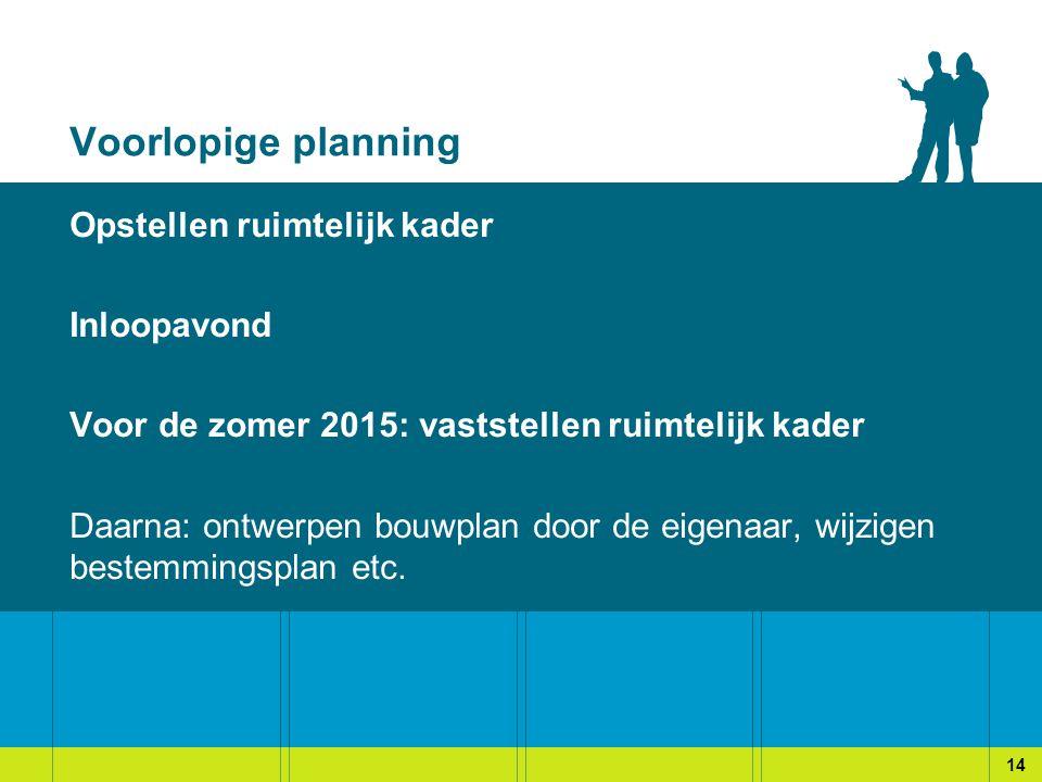 Voorlopige planning Opstellen ruimtelijk kader Inloopavond Voor de zomer 2015: vaststellen ruimtelijk kader Daarna: ontwerpen bouwplan door de eigenaar, wijzigen bestemmingsplan etc.