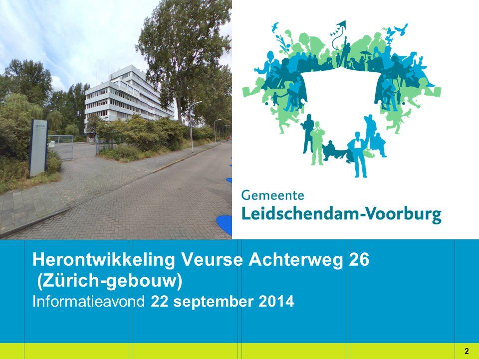 Informatieavond 22 september 2014 Pro Herontwikkeling Veurse Achterweg 26 (Zürich-gebouw) 2