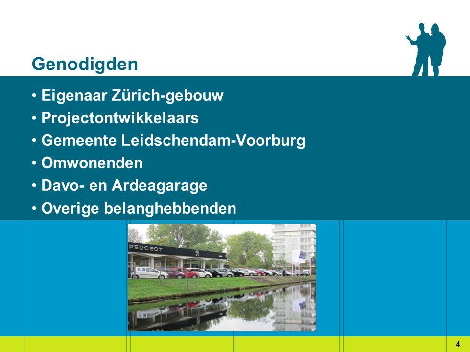Genodigden Eigenaar Zürich-gebouw Projectontwikkelaars Gemeente Leidschendam-Voorburg Omwonenden Davo- en Ardeagarage Overige belanghebbenden 4