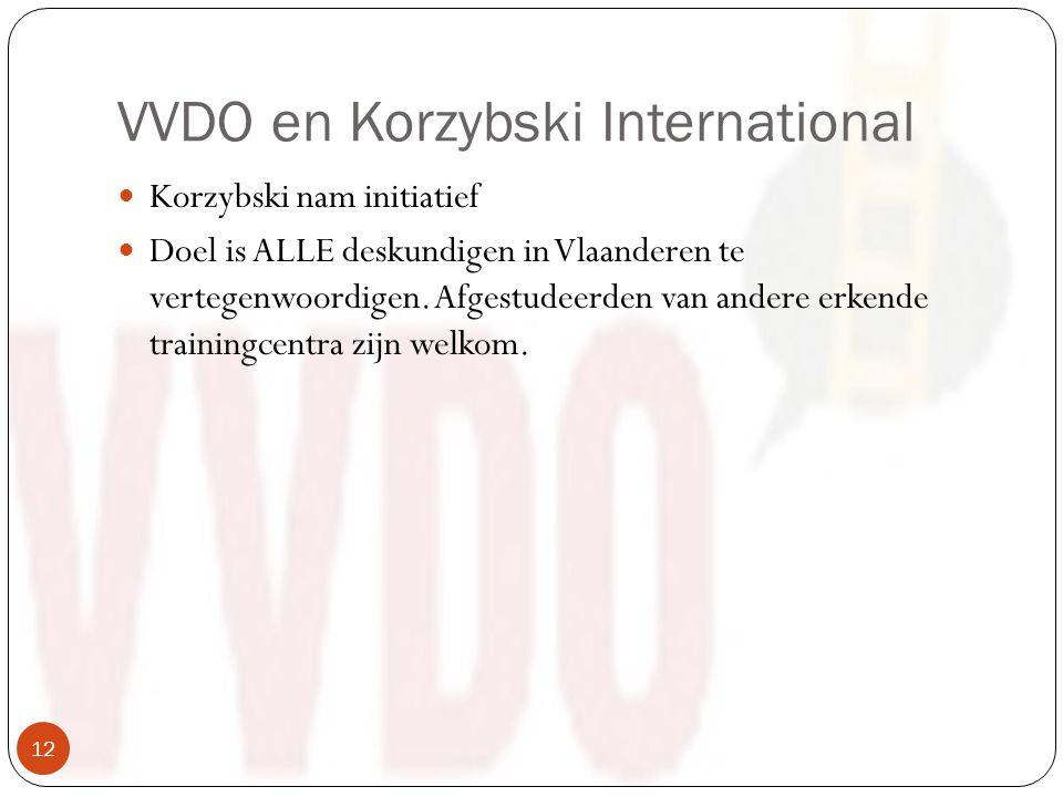 VVDO en Korzybski International Korzybski nam initiatief Doel is ALLE deskundigen in Vlaanderen te vertegenwoordigen.