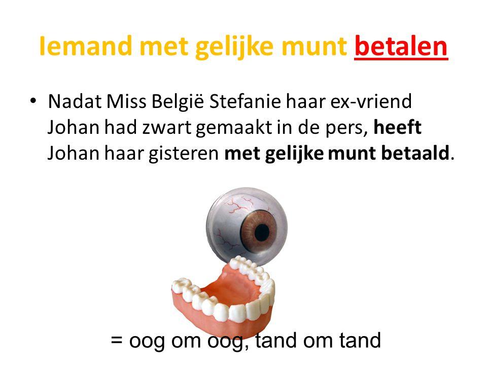 Iemand met gelijke munt betalen Nadat Miss België Stefanie haar ex-vriend Johan had zwart gemaakt in de pers, heeft Johan haar gisteren met gelijke munt betaald.