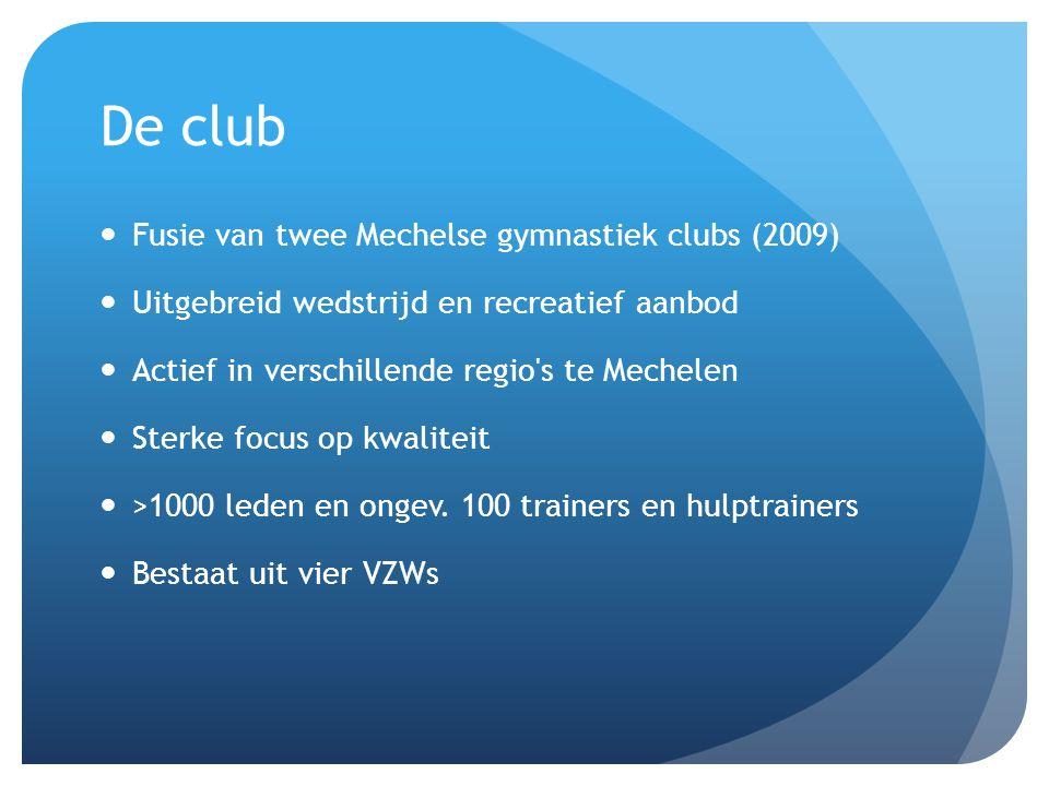 De club Fusie van twee Mechelse gymnastiek clubs (2009) Uitgebreid wedstrijd en recreatief aanbod Actief in verschillende regio's te Mechelen Sterke f
