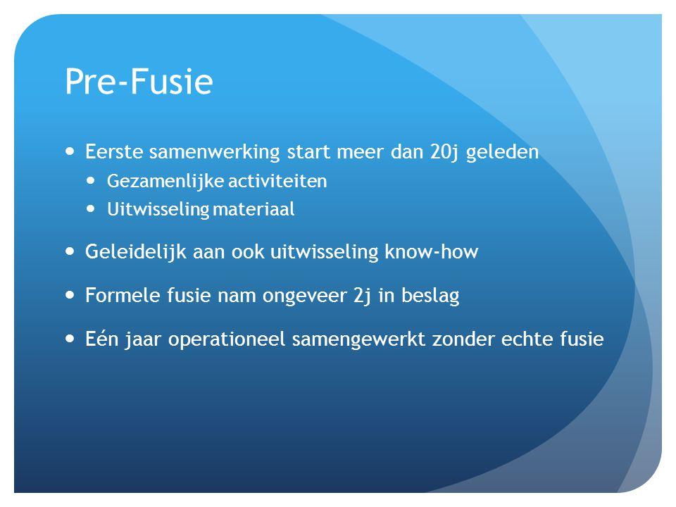 Pre-Fusie Eerste samenwerking start meer dan 20j geleden Gezamenlijke activiteiten Uitwisseling materiaal Geleidelijk aan ook uitwisseling know-how Fo