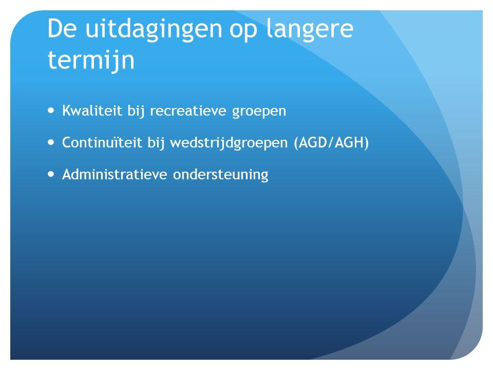 De uitdagingen op langere termijn Kwaliteit bij recreatieve groepen Continuïteit bij wedstrijdgroepen (AGD/AGH) Administratieve ondersteuning