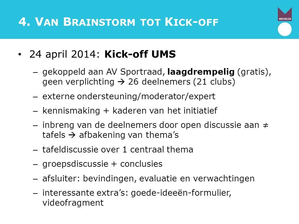 4. V AN B RAINSTORM TOT K ICK - OFF 24 april 2014: Kick-off UMS – gekoppeld aan AV Sportraad, laagdrempelig (gratis), geen verplichting  26 deelnemer