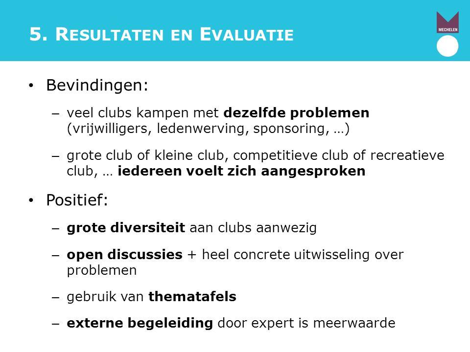5. R ESULTATEN EN E VALUATIE Bevindingen: – veel clubs kampen met dezelfde problemen (vrijwilligers, ledenwerving, sponsoring, …) – grote club of klei