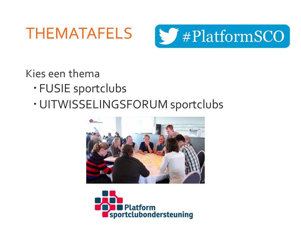 THEMATAFELS Kies een thema  FUSIE sportclubs  UITWISSELINGSFORUM sportclubs