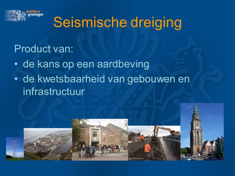 Seismische dreiging Product van: de kans op een aardbeving de kwetsbaarheid van gebouwen en infrastructuur