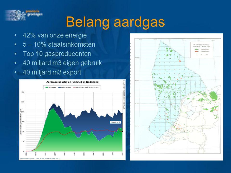 Belang aardgas 42% van onze energie 5 – 10% staatsinkomsten Top 10 gasproducenten 40 miljard m3 eigen gebruik 40 miljard m3 export